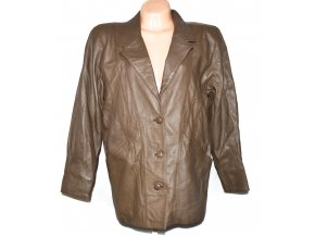 KOŽENÝ dámský hnědý měkký kabát Lakeland XL