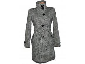 Vlněný dámský černobílý kabát s páskem NEXT S