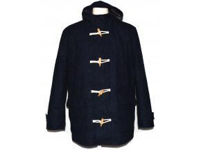Vlněný pánský modrý kabát s kapucí XL