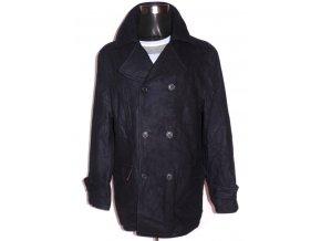 Vlněný pánský temně modrý kabát L/XL
