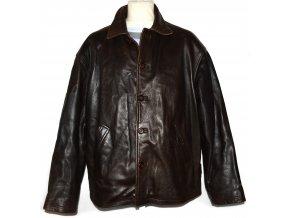 KOŽENÁ pánská hnědá měkká bunda Ciro Citterio XL