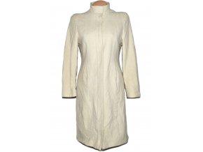Vlněný (80%) dámský dlouhý smetanový kabát M