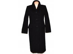 Vlněný (100%) dámský černý dlouhý kabát Marks&Spencer L