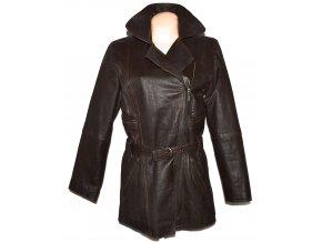 KOŽENÝ dámský hnědý kabát - křivák S/M