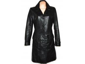 KOŽENÝ dámský dlouhý černý měkký kabát L