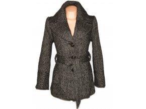 Vlněný dámský hnědý melírovaný kabát s páskem BM XL