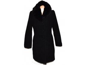 Vlněný dámský černý kabát s kožíškem PARA XL