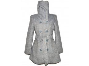 Dámský šedý kabát s páskem M/L