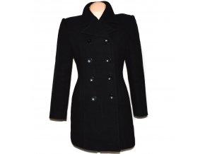 Vlněný (80%) dámský černý kabát Fervente L