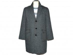 Vlněný pánský šedočerný melírovaný kabát Jeff Banks L