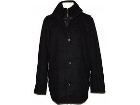 Vlněný pánský černý kabát na zip GEORGE L 2