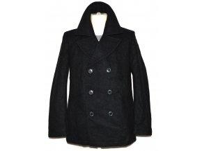 Vlněný pánský šedočerný kabát Crew M
