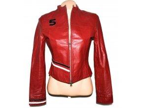 KOŽENÁ dámská červená bunda na zip TERRANOVA M