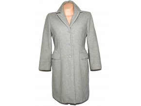 Vlněný (80%) dámský šedý kabát BENETTON M
