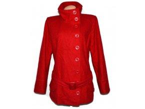 Vlněný dámský červený kabát s páskem NEW LOOK 16/44