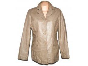 KOŽENÝ dámský béžový měkký kabát Different L