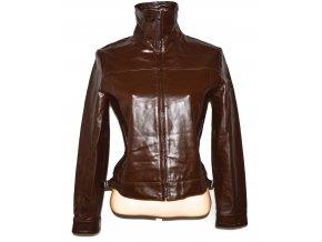 KOŽENÁ dámská hnědá bunda na zip MANGO M