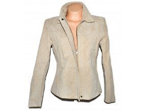 KOŽENÁ dámská béžová bunda na zip Barneys L