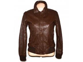KOŽENÁ dámská hnědá bunda na zip Debenhams M
