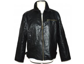 KOŽENÁ pánská černá bunda na zip L