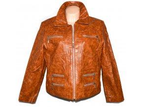 KOŽENÁ dámská hnědá bunda na zip XXL