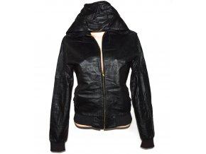KOŽENÁ dámská černá bunda s kapucí POP England L