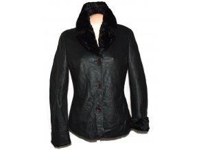 KOŽENÉ dámské černé zateplené sako s kožíškem Cabrini M