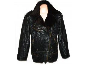 KOŽENÝ dámský hnědý zateplený kabát - křivák s páskem L