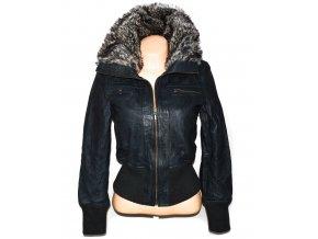 KOŽENÁ dámská modrošedá měkká bunda na zip KOOKAI 40 3
