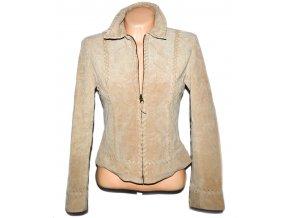 KOŽENÁ dámská béžová bunda na zip TOPSHOP M
