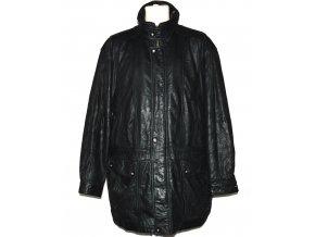 KOŽENÁ pánská černá zateplená měkká bunda na zip C&A XXL