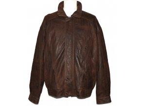 KOŽENÁ pánská hnědá měkká zateplená bunda na zip XL