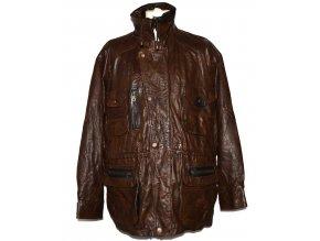 KOŽENÁ pánská hnědá zateplená bunda na zip Milan Leather XXL