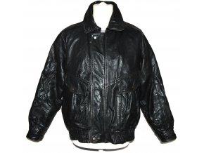 KOŽENÁ pánská černá zateplená bunda na zip M