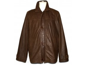 KOŽENÁ pánská hnědá měkká bunda na zip KARA 52