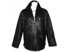 KOŽENÁ pánská černá měkká bunda na zip Roy/Rene L