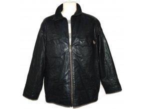 KOŽENÁ pánská černá zateplená bunda na zip VALI M