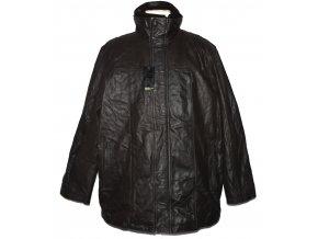 KOŽENÁ pánská hnědá měkká zateplená bunda na zip Paul Berman XL - s cedulkou