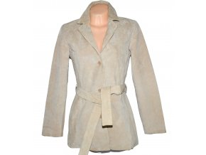 KOŽENÝ dámský béžový broušený kabát s páskem Outer Edge L