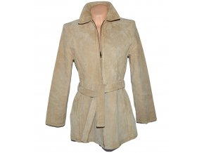 KOŽENÝ dámský béžový broušený kabát s páskem Joie De Vivre Lbez