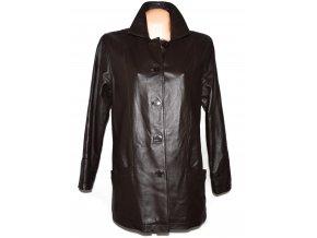 KOŽENÝ dámský hnědý měkký kabát XL