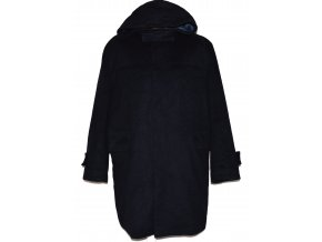Vlněný pánský modrý kabát s kapucí French Connection XXL