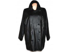 KOŽENÝ dámský černý měkký zateplený kabát Fashion Elements XXL