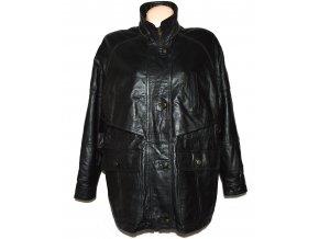 KOŽENÝ dámský černý měkký zateplený kabát XXL