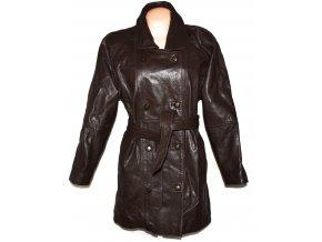 KOŽENÝ dámský hnědý kabát s páskem Classic Woman XL