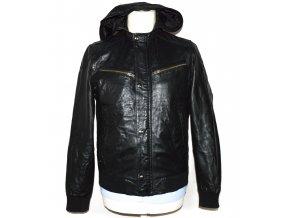 KOŽENÁ pánská černá měkká bunda s kapucí TOPMAN S