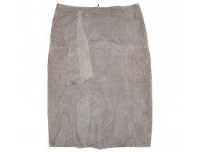 KOŽENÁ dámská béžová broušená sukně NEXT L