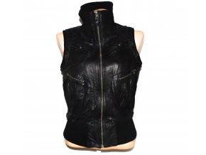 KOŽENÁ dámská černá měkká vesta Mango XL