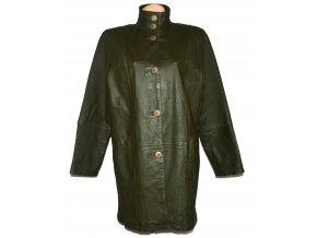 KOŽENÝ dámský zelený khaki kabát CERO XXL