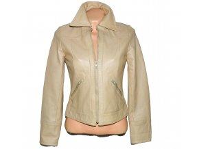 KOŽENÁ dámská béžová měkká bunda na zip H&M S